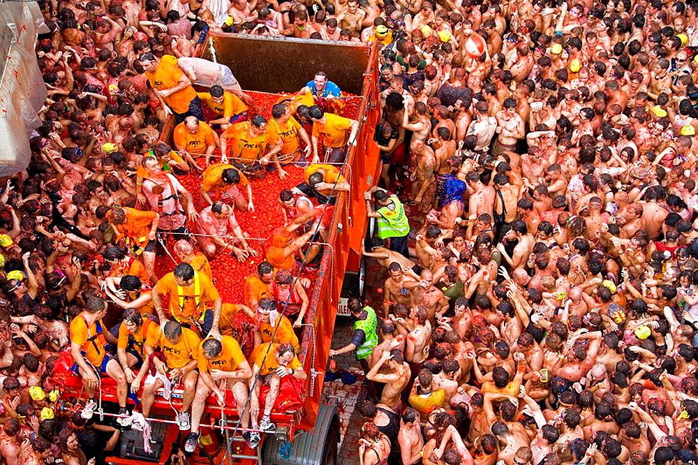 Spain, Valencia Region, Bunol City, Tomatina Festival (Tomato festival) - 817-20085