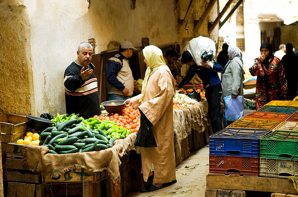 Market scenes in the old medina  city  of Fes