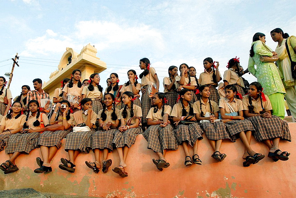 School girls enjoying Sunrise at Kanyakumari, Tamil Nadu, India.