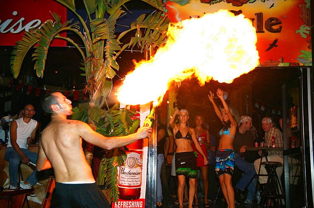 Fireblower at discotheque, Limmasol Cyprus