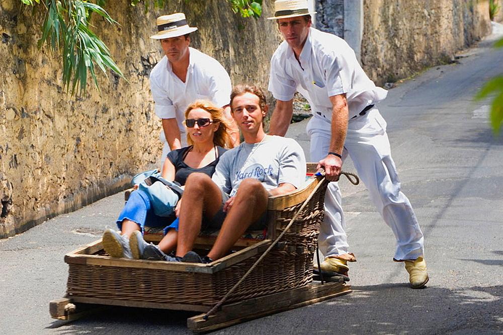 Traditional toboggan ride, Funchal, Madeira