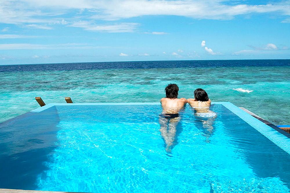 Seascape in water villa swimming pool, Maldives Island, Indian Ocean.