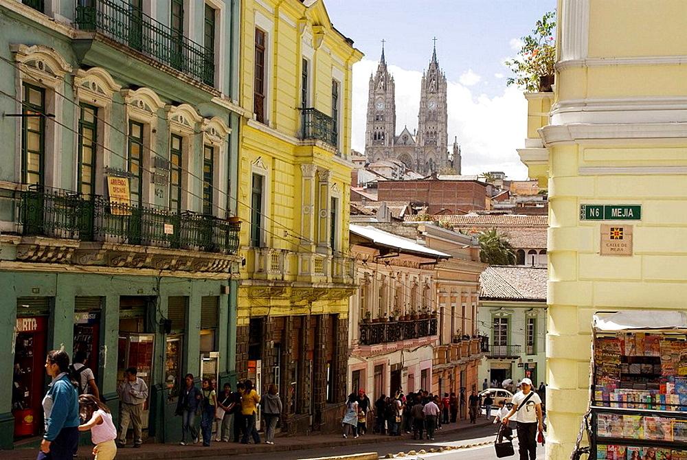 Ecuador.Quito.Historical center.Street of  Guayaquil  and La Basilica del Voto Nacional (XIX_XX century) in the background.