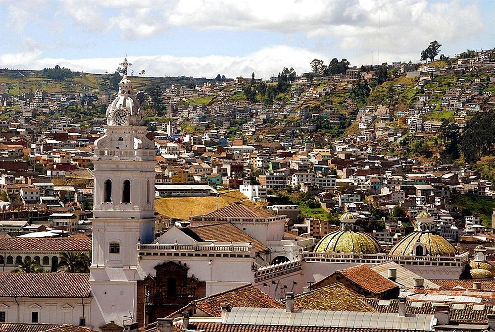 Ecuador.Quito.Centro historico.Belfry and domes of the Church of Santo Domingo (XVI_XVII century).