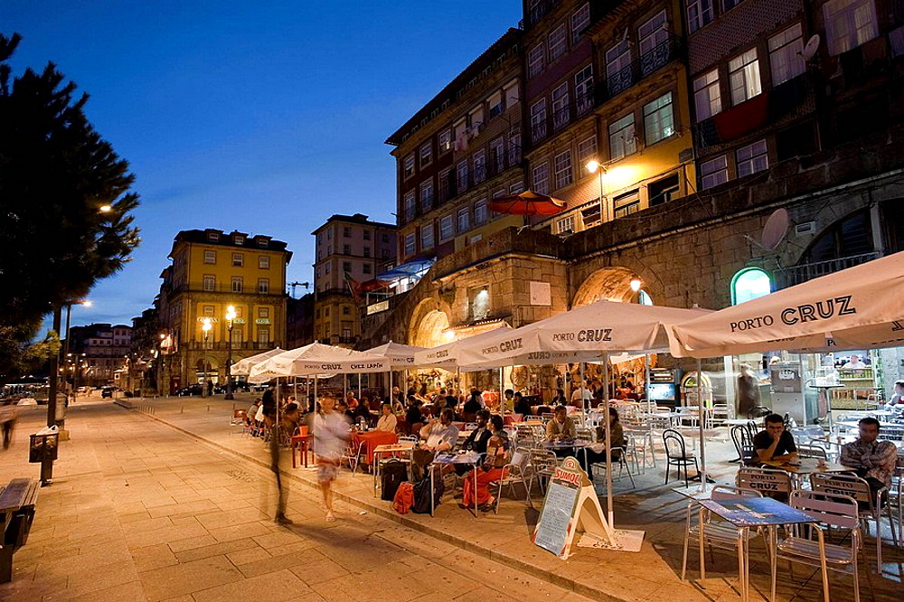 Outdoor Cafe on Douro River, Ribeira District, Porto UNESCO World Heritage, Portugal