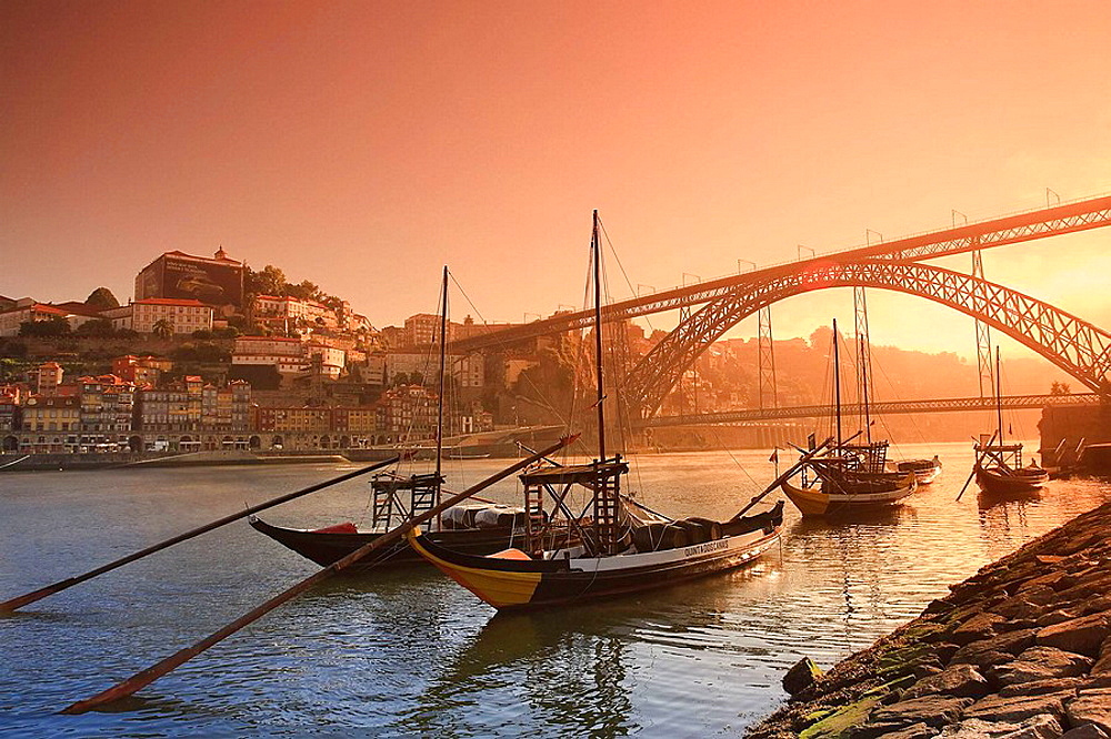Porto Wine Carrying Barcos Barges, River Douro and city skyline, Porto UNESCO World Heritage, Portugal - 817-208877