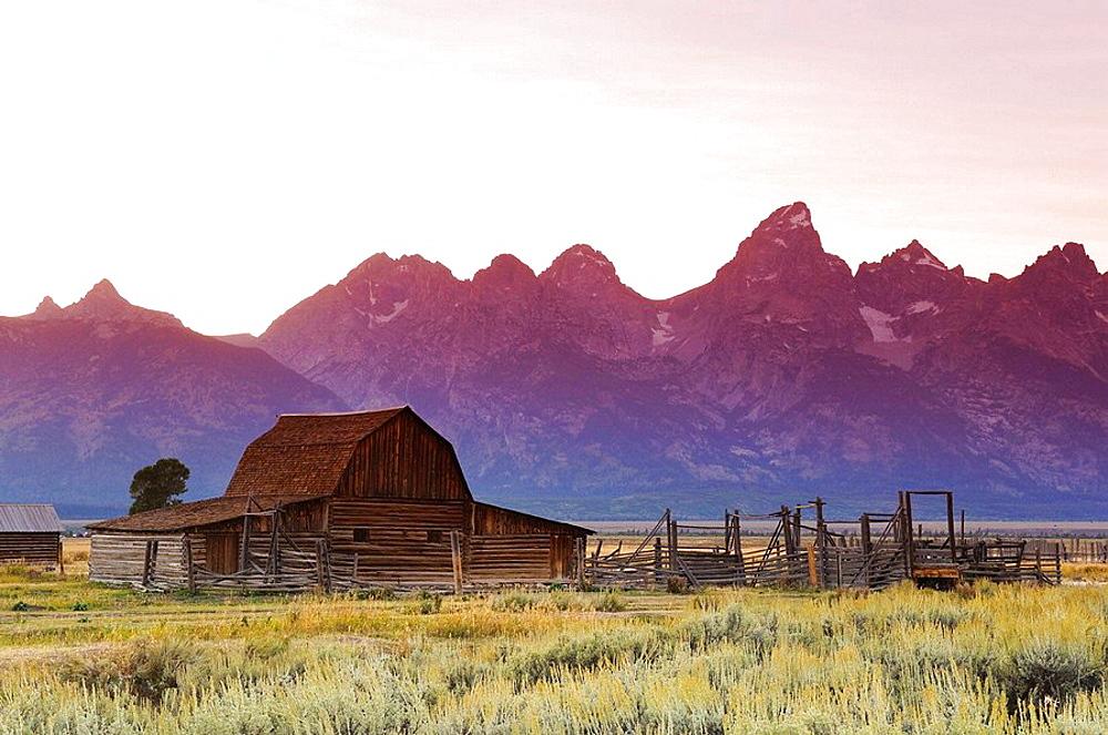 Historic Barn on Mormon Row and Teton Mountain Range, Grand Teton National Park, Wyoming, USA