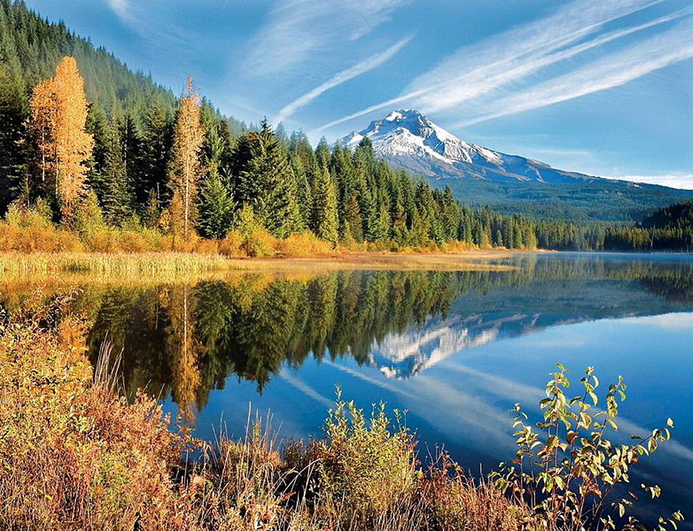 Mt, Hood reflecting in Trillium Lake in the autumn, Oregon, USA