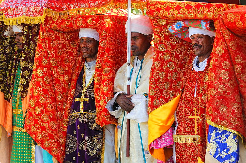 Ethiopia, Lalibela,Timkat festival, High priests carrying the church Tabots   Every year on january 19, Timkat marks the Ethiopian Orthodox celebration of the Epiphany  The festival reenacts the baptism of Jesus in the Jordan River  Wrapped in rich c