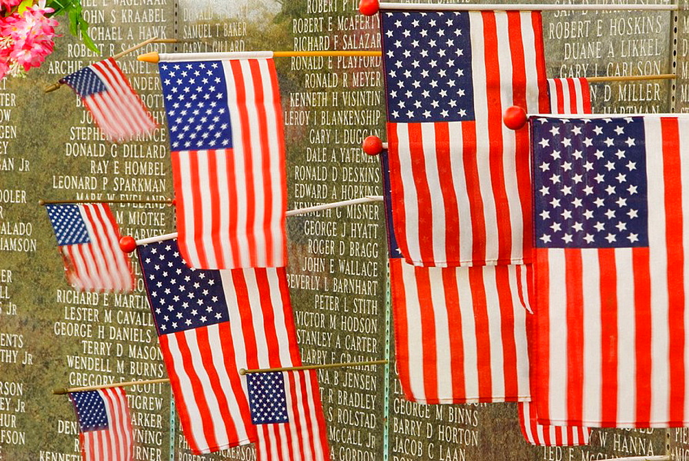 Washington Vietnam Veterans Memorial with American flags, Capitol Mall, Olympia, Washington, USA