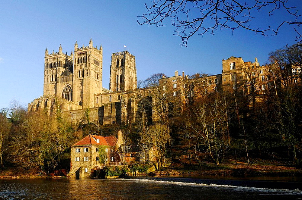 Durham Cathedral in winter sunshine, overlooking the Fulling Mill along the River Wear, Durham City, County Durham, England.