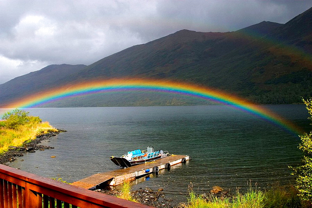 KARLUK LAKE RAINBOW OVER BOAT