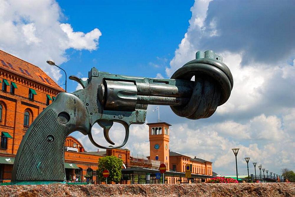 Non Violence sculpture in front of railway station in Malmo Skv•ne Sweden Europe