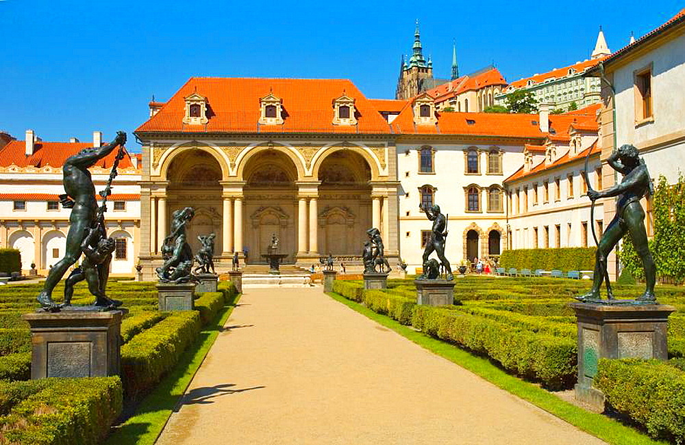 Wallenstein gardens in Mala Strana quarter in Prague Czech Republic