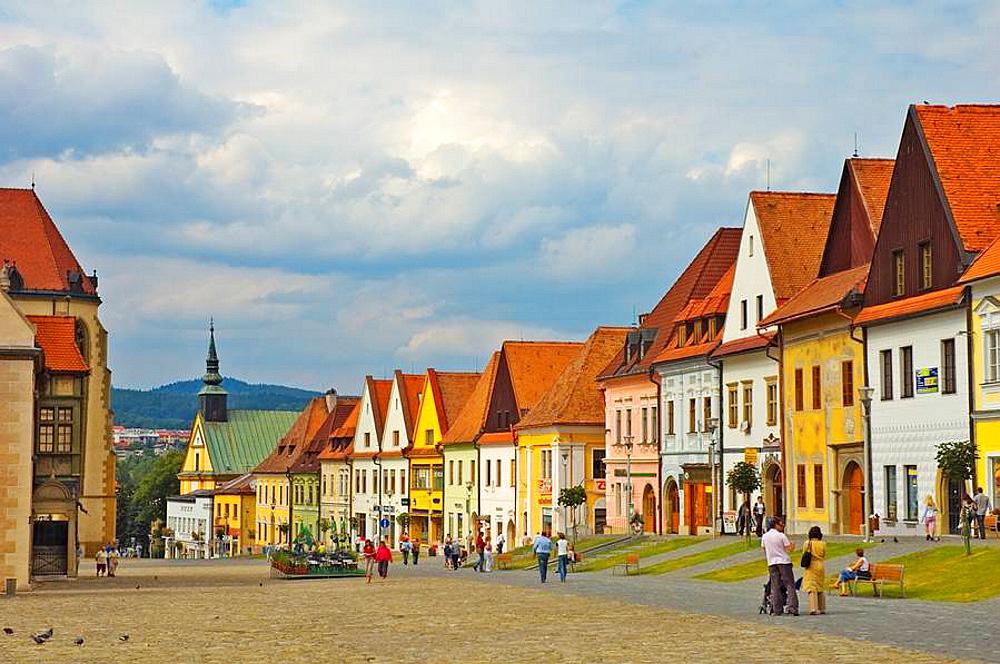 Radnicne namesti square in central Bardejov Slovakia EU
