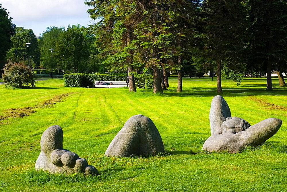 Puhkaja statue Toompark park in central Tallinn Estonia Europe - 817-214873