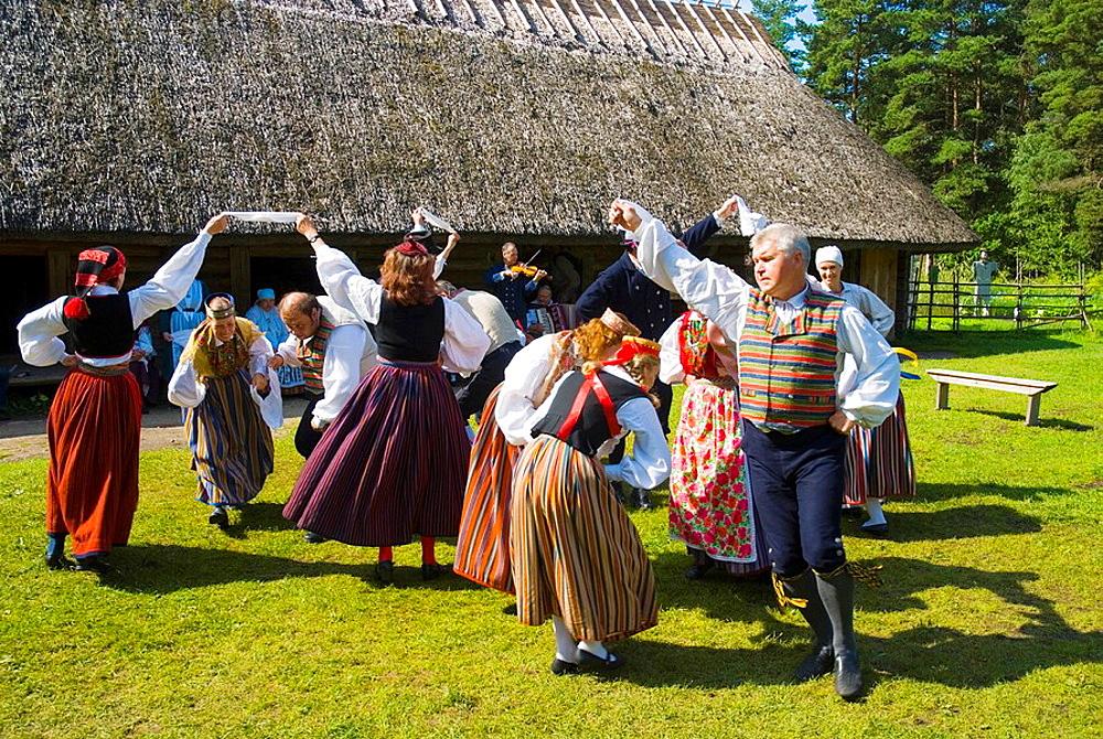 Folk dance and music show Vabaohumuuseum the outdoor heritage museum at Rocco al Mare in Tallinn Estonia Europe - 817-214886