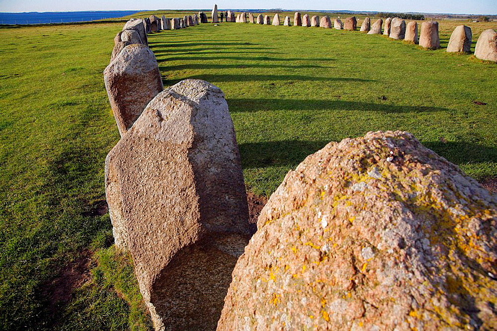 The Ale stones at KÔæåseberga, the largest stone formation in Sweden maybe used as a calendar