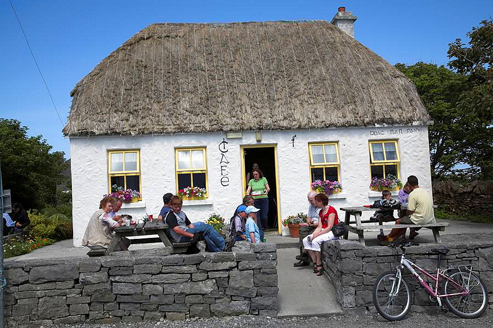 Tourists at cafe and gift shops near Dn Aengus, Inishmore, Aran Islands, Ireland