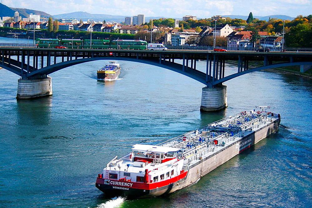 Oil tanker, Rhine river, Basel, Switzerland