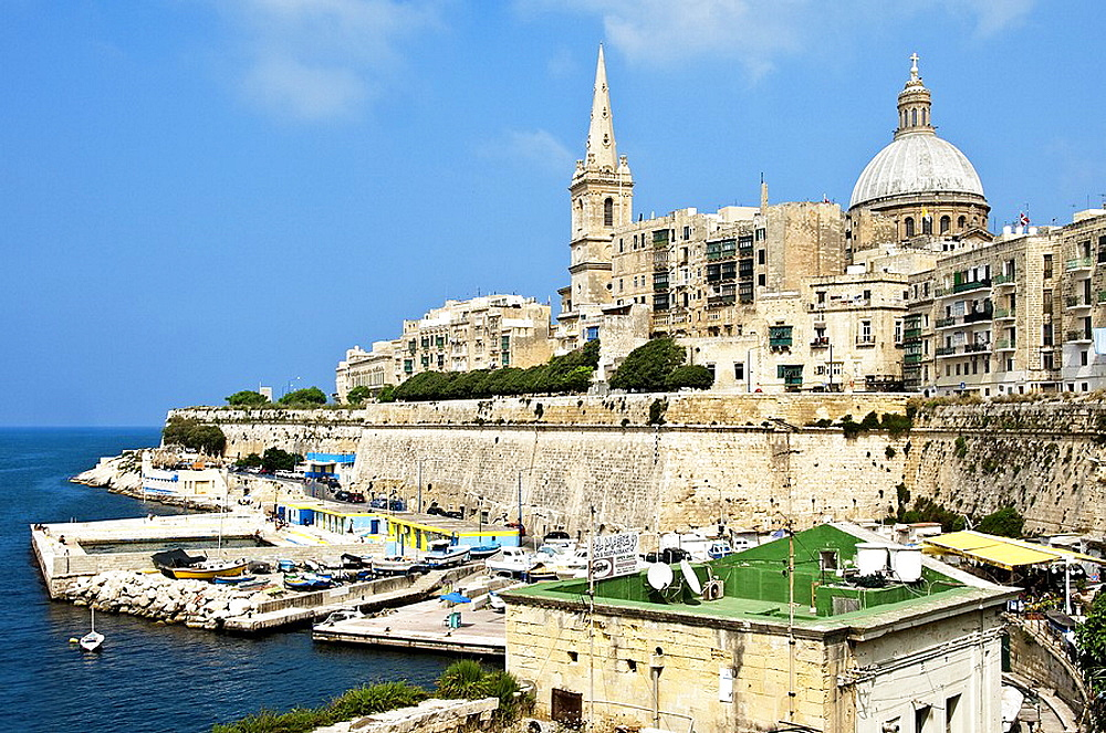 View from the Grand Harbor to the outer walls of Valletta, Malta