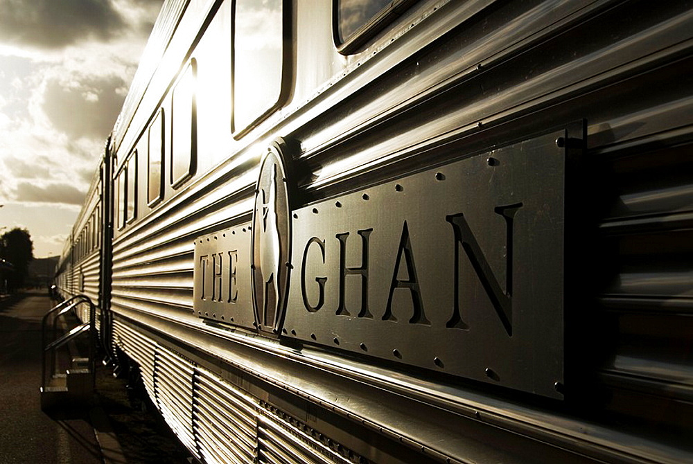 Detail of the famous Ghan train carriage at sunset in Alice Springs in central Australia  The Ghan travels between Adelaide and Darwin