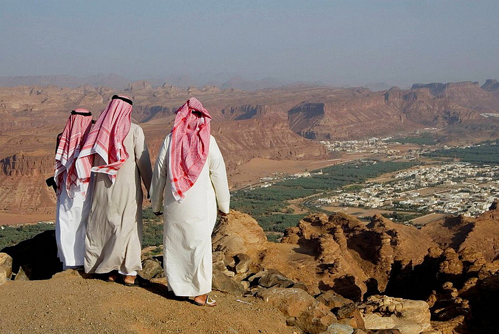 Saudi Arabia, Al Ula, the oasis from the top of the cliff