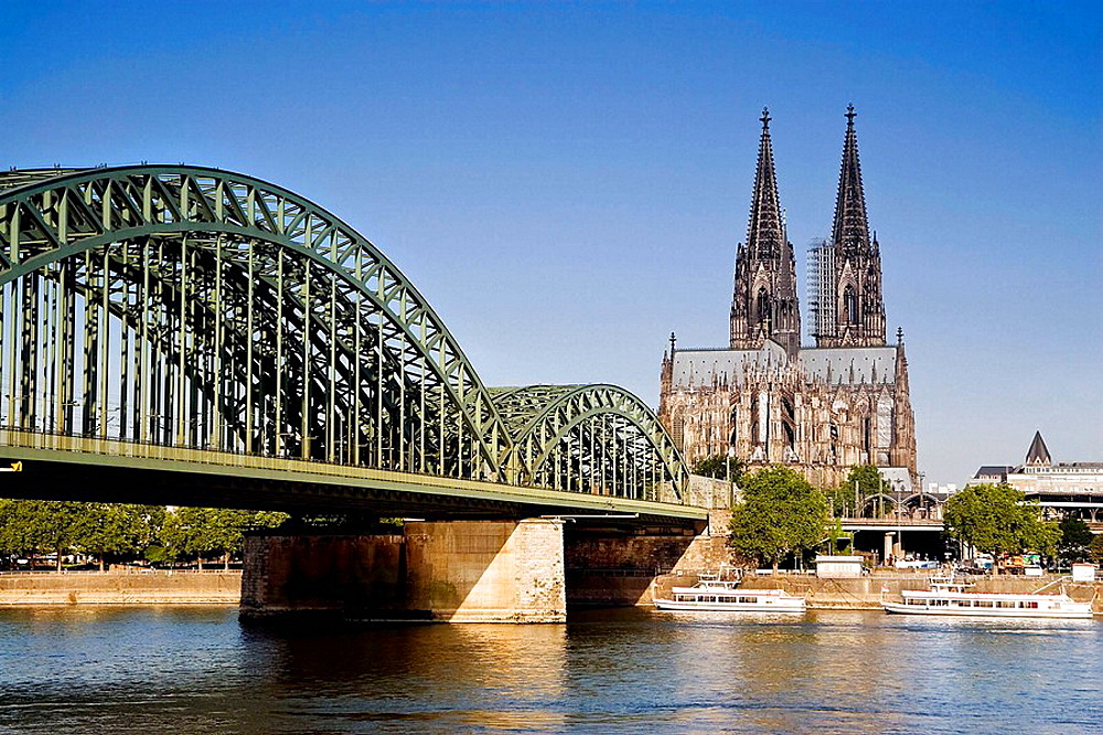 Germany Cologne Hohenzollern Brucke and Cologne Cathedral