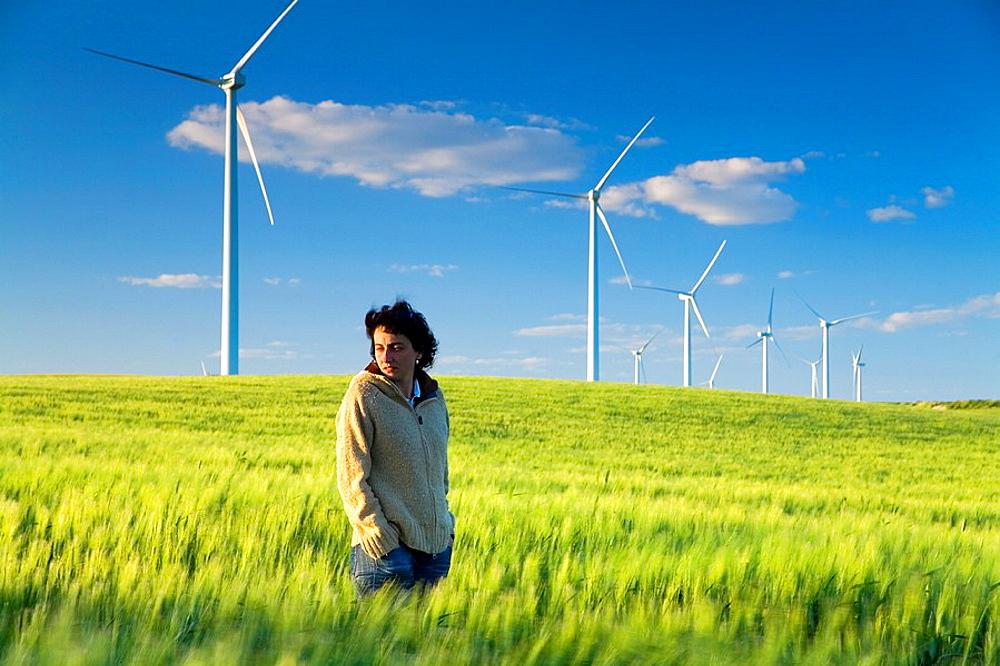 wind turbines at sunset, Near Sanlucar de Barrameda, Cadiz province, Spain, Europe - 817-220871