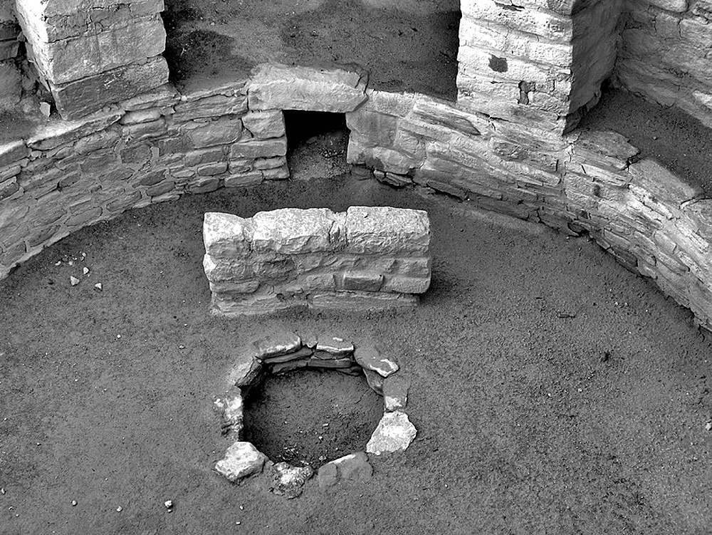 Kiva firepit, Long House ruins, Mesa Verde Natl Park, Colorado, USA