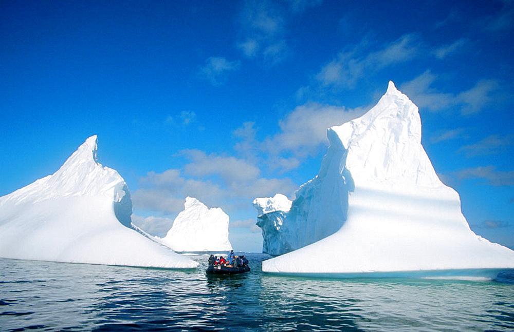 Zodiac with tourists, Antarctic peninsula