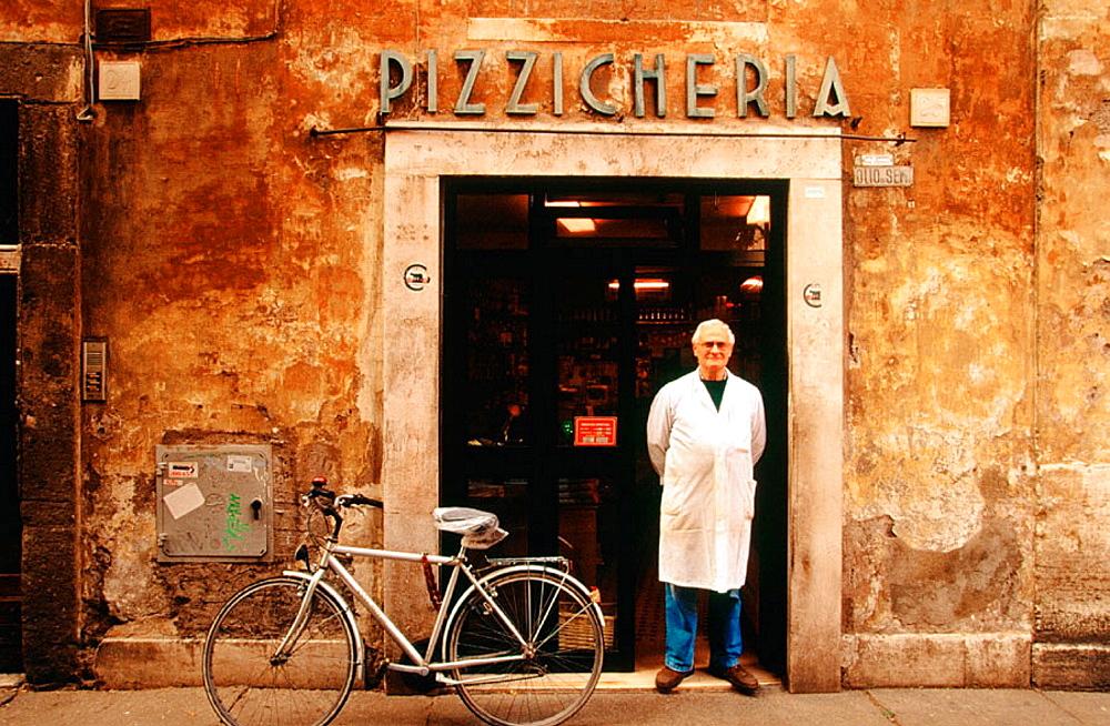 Fernando Santis in 'La Pizzicheria' food shop, Roma, Italy