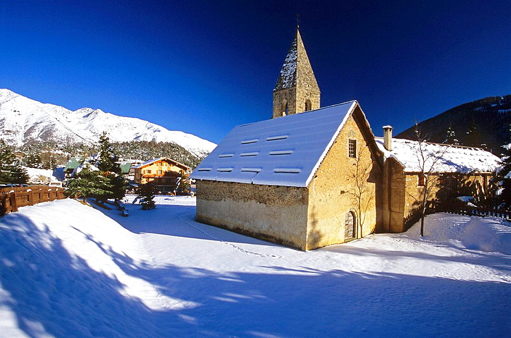 The little church of Auron in winter, Alpes Maritimes, France
