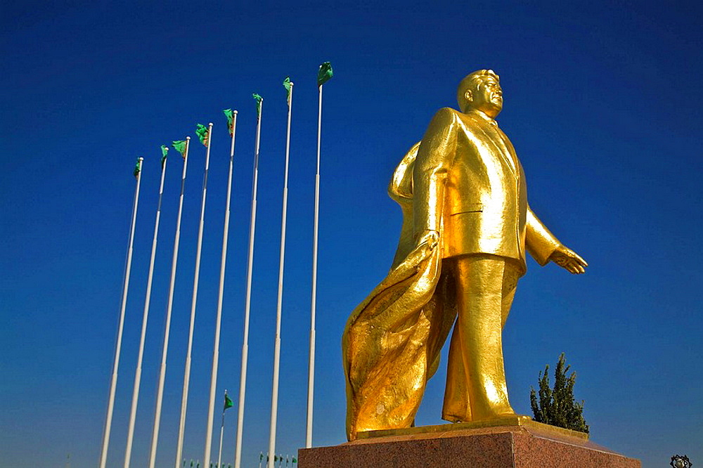 Takhi horse statue built for the Tenth anniversary of Independance and gold statue of former president for life Saparmurat  Niyazov - Turkmenbashi, Ashkabad, Turkmenistan