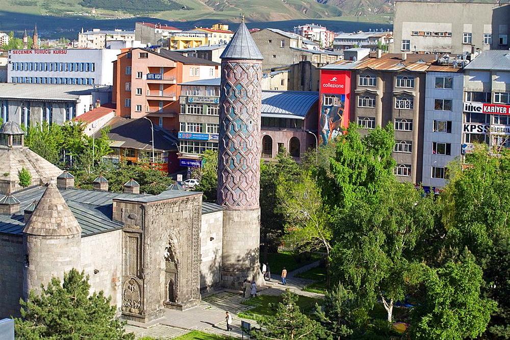 City view of Yakutiye Medrese minaret now seving as Turkish-Islamic Arts and Ethnography Museum, Erzurum, Anatolia, Turkey