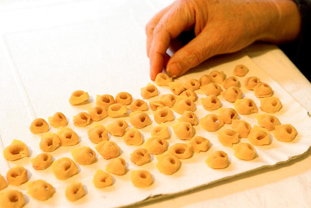Trattoria, Dispensa, Locanda (restaurant, hotel, food shop) 'Da Amerigo', Handmade Tortellini, Savigno, Bologna province, Italy.