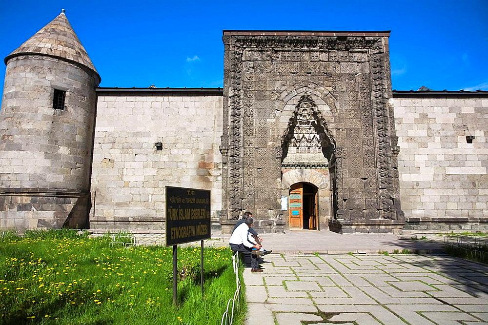 Yakutiye Medrese now seving as Turkish-Islamic Arts and Ethnography Museum, Erzurum, Anatolia, Turkey