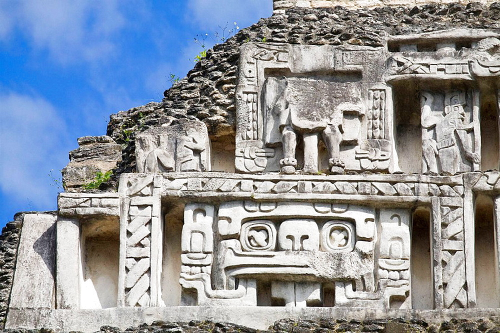 Frieze of 130ft high El Castillo, Xunantunich ruins, Maya archaeological site, San Ignacio, Belize