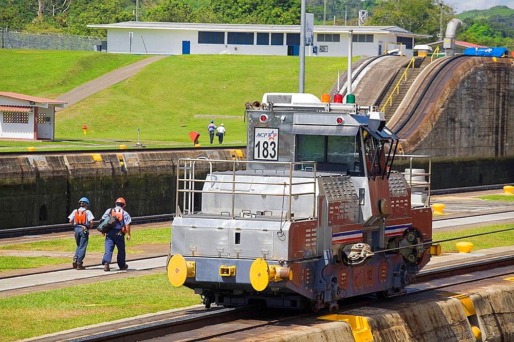 Mechanical mule or electric locomotive used to guide cruise ships through locks, Miraflores Locks, Panama Canal, Panama