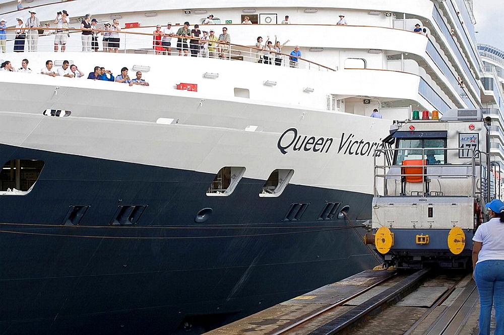 Queen Victoria cruise ship on its maiden World Cruise passing through Gatun Locks, Panama Canal, Panama
