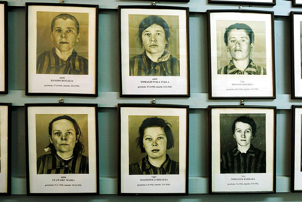 Photographs of prisoners of Auschwitz concentration and extermination camp Oswiecim Poland