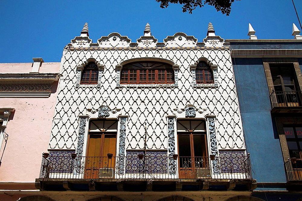 Ornate facade of building, Puebla, Mexico