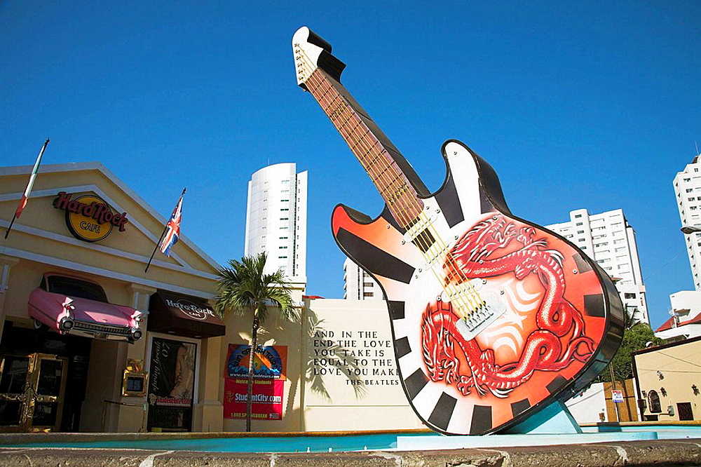 Guitar outside entrance to Hard Rock Cafe, Acapulco, Guerrero State, Mexico