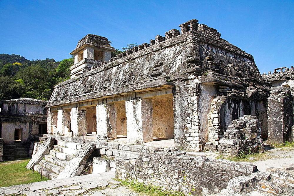 El Palacio, The Palace, Palenque Archaeological Site, Palenque, Chiapas, Mexico