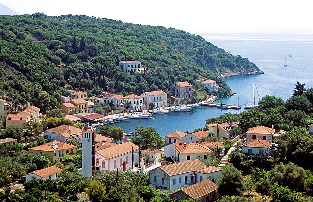 Kioni harbour and village, Kioni, Ithaca, Greece