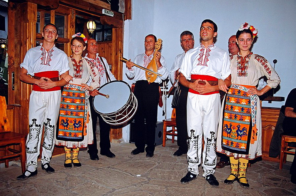 Dancers and musicians in national costume, Arbanassi, Bulgaria