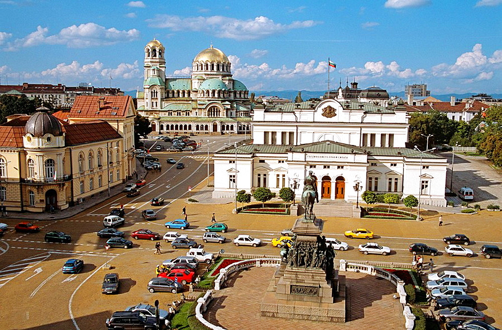 Liberation Monument, Bulgarian Parliament Building, Science Academy, and Alexander Nevsky Cathedral, Sofia, Bulgaria