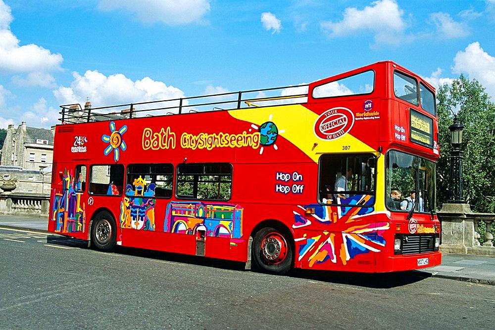 Tourists bus, Bath, Somerset, England
