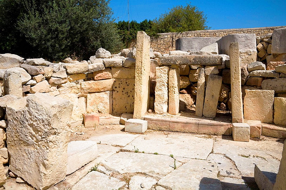 Temple in the Tarxien archaeological site, Tarxien, Malta