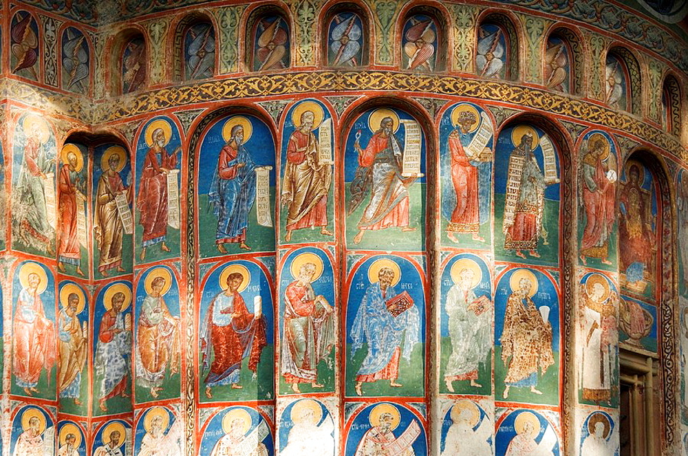 Church of St George of the former Voronet Monastry, with wall paintings representing biblical scenes and legends, South Bucovina, Moldavia, Romania, UNESCO World Heritage